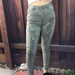 Distressed Green Skinny Jeans